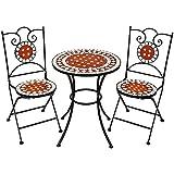 TecTake Conjunto de muebles de jardín mosaico mesa con sillas terraza metal cerámica