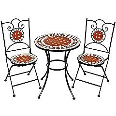 Idea Regalo - TecTake Set arredo giardino mosaico tavolo e sedie in ferro con terracotta ceramica