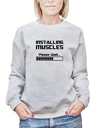 Felpa da donna con Installing Muscles Please Wait stampa. X-Large, Grigio