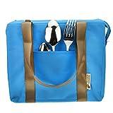 FakeFace Modische Wasserdichte Mittagsessen Tasche Picknicktasche Bento Box Warmhaltung Eistasche Kühltasche Milch Transportieren Thermotasche Picnic Lunch Cooler Ice Bag Camping (Blau)