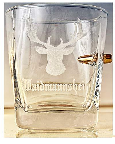 KolbergGlas Jäger Geschenk-Trink Glas mit realem Geschoß cal.308 und Gravur -Waidmannsheil-