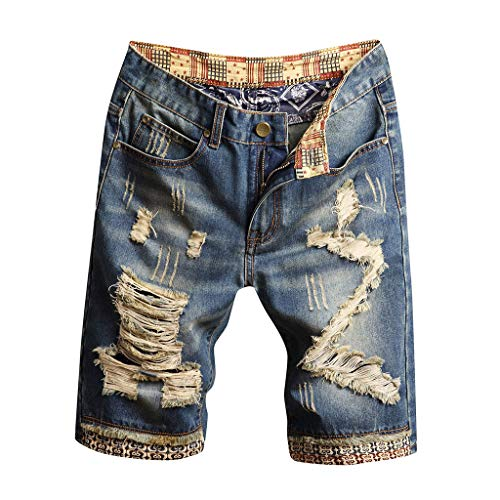TEBAISE Herren Jeans Short Kurze Hose Slim Fit Sommer Shorts Bermuda Sweat Denim Jogger Shorts Destroyed Stretch Cargo Shorts Vintage Freizeit Denim Atmungsaktive Sporthose Biker Jeanshosen