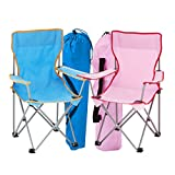 simpa 2 x BLUE + PINK Kids Childrens Folding Camping Chair Fishing Hiking Picnic Garden Collapsible Outdoor With Carrying Bag.