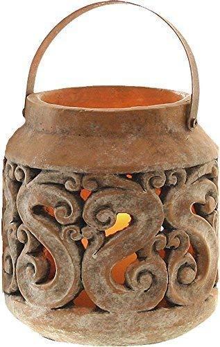 linoows Laterne mit Arabesken, Garten Laterne, Antike Terracotta Teelicht Laterne