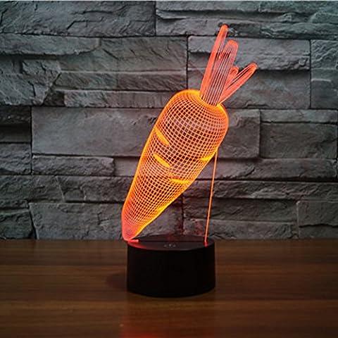 3D ILLUSION Lampe jawell Nacht Licht Karotte 7wechselnden Farben Touch USB Tisch NICE Geschenk Spielzeug Dekoration