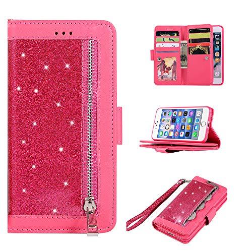 Edauto Handyhülle Kompatibel mit iPhone 7 / iPhone 8 Hülle Glitter Diamant Flip Case Leder Tasche Magnetisch Kartenfächer Ständer Schutzhülle Handyschale Rei?verschlusstasche Klapphülle Rose rot