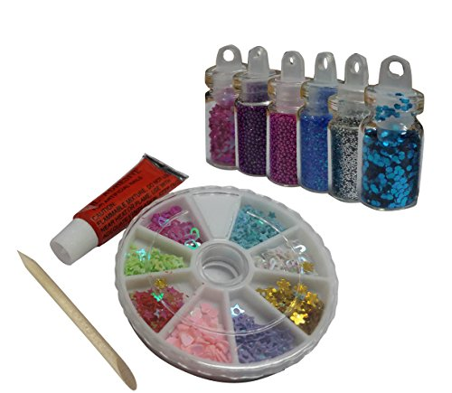FOK Combo Set Professional DIY Nail Art Decoration Kit Glitter, Beads, Rhinestones, Sequins-Random Design Set