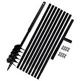 Festnight Metall Bohrer Handerdbohrer 120mm Erdbohrer Erdbohrgerät mit Griff + 8x Verlängerungsrohr
