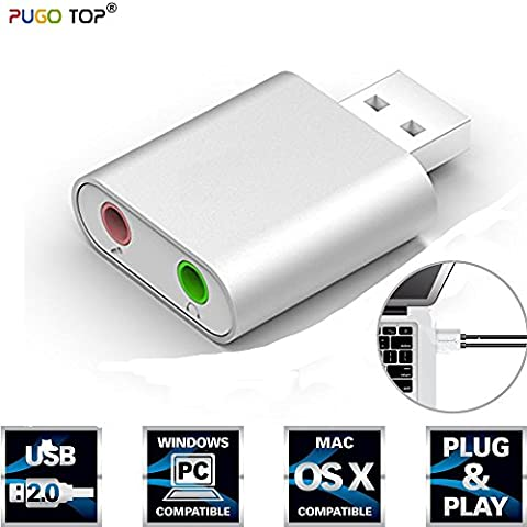 PUGO TOP Adaptateur audio USB 3,5 mm pour haut-parleur/casque stéréo et micro Aluminium, puce C-Media, compatible Windows, Mac et Linux - Argent