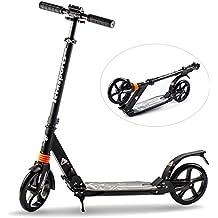 Tera Scooter Patinete Plegable Monopatín 2 Ruedas para Niños Adultos Aluminio Negro&Blanco