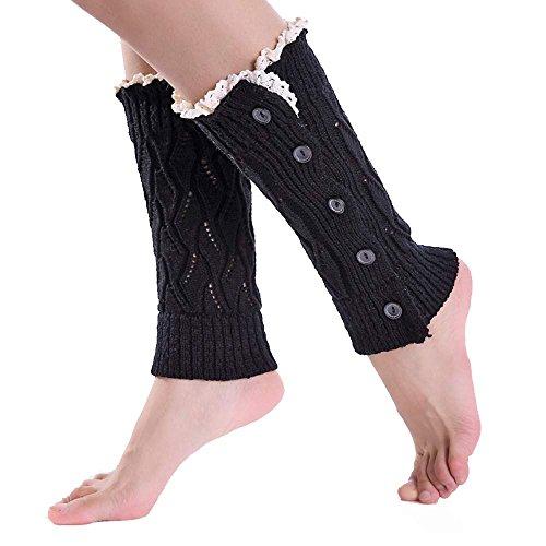 KPILP 1 Para Frauen Mädchen Stulpen Socken Beinlinge Stricken Spitze Elegante Stiefelabdeckung Freizeitsocken Winter Herbst Strumpfhose,Schwarz