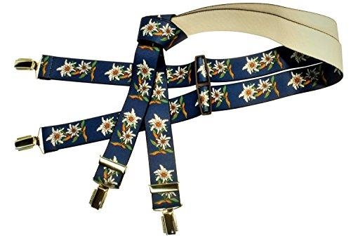 Tracht-Edelweiß-Hosenträger für Herren, Blau