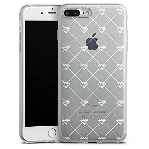 Apple iPhone 8 Plus Slim Case Silikon Hülle Schutzhülle Transparent mit Muster Diamant Diamanten Silikon Slim Case transparent