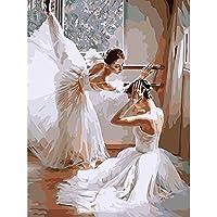 Dipingere con i numeri per bambini Adulti Kit pittura a olio fai da te Principiante [Cornice in legno] - I ballerini di balletto stanno in ginocchio 40cm×50 cm