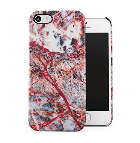 Rough Sapphire Marble Stone Print Apple iPhone 5 , iPhone 5S , iPhone SE Snap-On Hard Plastic Protective Shell Case Cover Custodia Grey Ruby Red