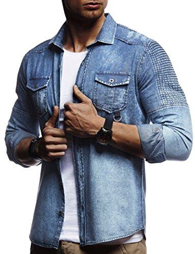 LEIF NELSON Herren Biker Hemden Männer overshirt Freizeithemden Denim Jeans Jacke Weste Destroyed Verwaschen Vintage Gesteppt Langarm kurzarm LN3375; Größe L, Blau (Blaue Kurzarm-jacke)