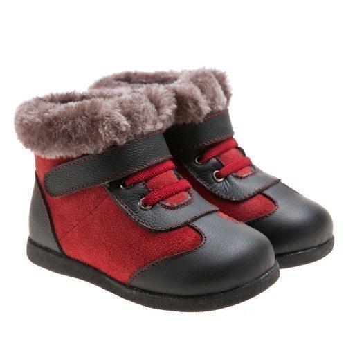 Little blue lamb toddler bottes fourrées bottes en cuir rouge/noir