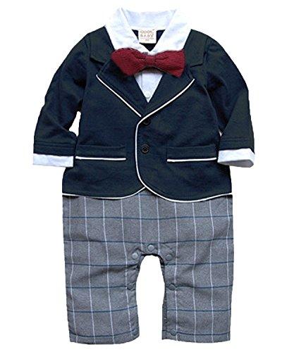 Minetom Bambini Ragazzi Tute A Manica Lunga Gentleman Plaid Modello Pagliaccetto Smoking Suits Blu 80