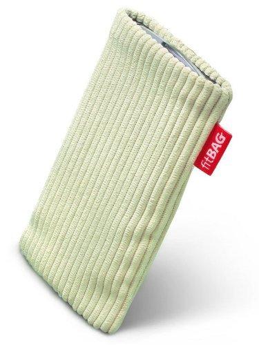 fitBAG Retro Pistazie Handytasche Tasche aus Cord-Stoff mit Microfaserinnenfutter für Samsung SGH-X500