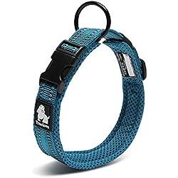 Petcomer Cuello de perro con Anilla para Correa Collar de seguridad Ajustable Cómodo para Perros Pequeños Medianos o Grandes (L 45-50cm, Azul)
