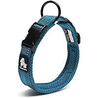 Petcomer Cuello de perro con Anilla para Correa Collar de seguridad Ajustable Cómodo para Perros Pequeños Medianos o Grandes (M 40-45cm, Azul)