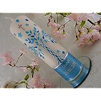 Taufkerze Lebensbaum blau silber mit Wachs verziert Taufkerzen für Jungen 250/70 mm mit Name und Datum