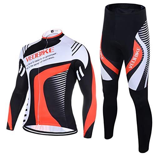 SonMo Schutz Radjacke + Fahrradhose Radfahren Jersey Set Fahrradbekleidung Set Langarm Radtrikot mit Sitzpolster Reflektorstreifen Rot&Weiß L -