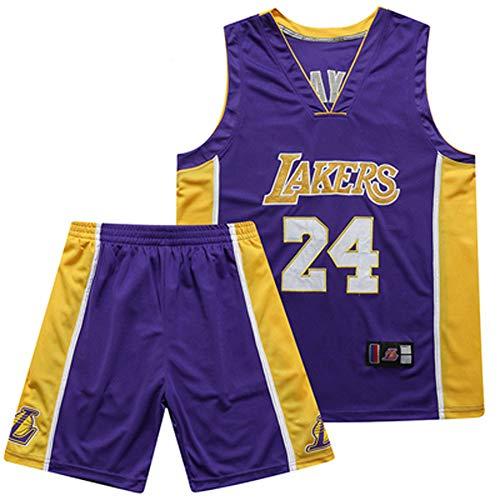 YUNY Lakers, Basketballanzug, atmungsaktiv, schnell trocknend, Kobe Bryant 24# James 23# Basketball Herren Set (Lila)-24-S - 24s Set