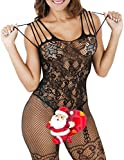 Buauty Womens Floral Lace Fishnet Open Crotch Bodystocking Sexy Lingerie