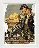 L Lumartos Vintage-Poster, Motiv: Italien Lavoro, Ecco Il Nuovo Dovere, weiß, A3
