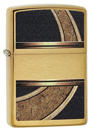 Zippo Feuerzeug 60001311, Gold/schwarz Benzinfeuerzeug, Messing, Edelstahloptik, 1 x 3,5 x 5,5 cm