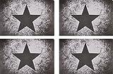 4er Tischset: Design Vintage Stern - Tisch Matten / Platzdeckchen / Tischunterlage/ Essunterlage/ Platzset aus Kunststoff abwaschbar 42 x 28 cm -grau hell