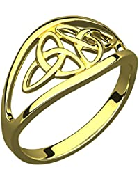 14K Gold Plated Silver Ring, Double Trinity Knot