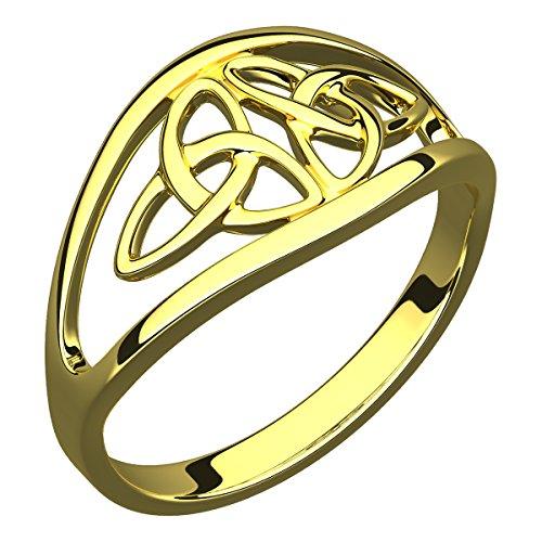 Anello in Argento Placcato Oro 14 carati, Doppio Nodo Celtico della Trinità