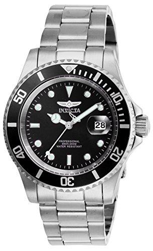 Invicta Pro Diver Herren Uhr 26970 Quartz Laufwerk 3 Zeiger 40mm Gehäuse schwarz mit Edelstahl Armband (Für Männer über Uhren 50 Invicta)