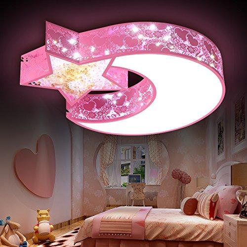 Mond Trommel-kunst (Kinder Zimmer Lampe modernen minimalistischen Cartoon kreativen jungen und Mädchen LED Lampe Schlafzimmer Licht Esszimmer Wohnzimmer Deckenleuchte,30W weiß/warmes weißes Licht)