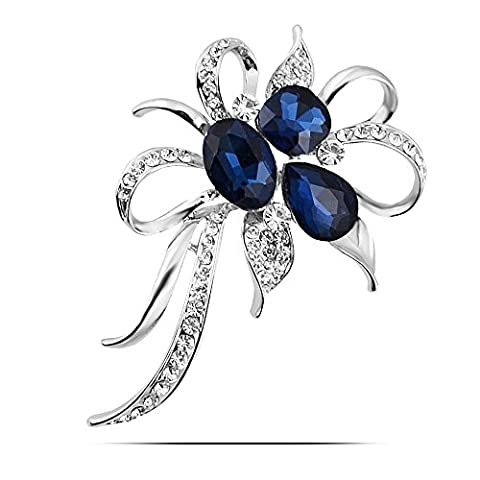 Lily Jewellery Women Fashion Bouquet Crystal Brooch Flower Corsage Silver Plated Promotion