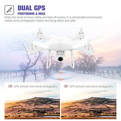Potensic GPS wifi Drone con 1080P Cámara HD  T25 Avión Radiocontrol con Función Follow Me  120º Gran Angular  Control Remoto  Quadcopter RTF Altitude Hold  Modo Sin Cabeza Retorno a Casa