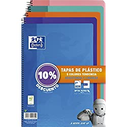 Oxford - Pack de 5 cuadernos (tapa plástico, 80 hojas, cuadrícula 4x4 con margen, colores surtidos tendencia)
