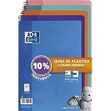 Oxford - Pack de 5 cuadernos (tapa plástico, 80 hojas, cuadrícula 4x4 con