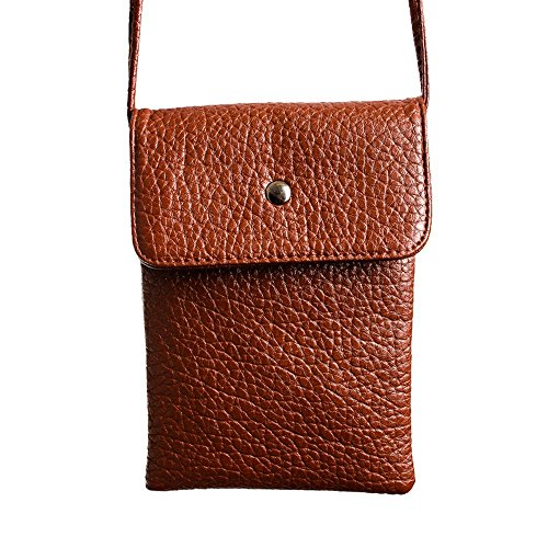 CellularOutfitter Compact Vegan Leather Crossbody Shoulder Bag - Pebbled Grain Detailing, Secure Closure - Coffee Brown (Top-grain-pearl)