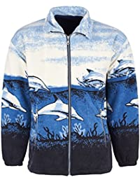 Unisex Mens Womens Faux Fur Jacket Animal Print Dolphin Design