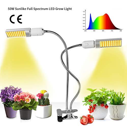 Niello 50W LED Pflanzenlampe Vollesspektrum 100 LEDs Wachstumslampe, Zweikopf LED Grow Light mit Austauschbarem E27 Leuchtmittel, Doppelschalter, Professionelles für Sämlinge, Wachstum, Blüte