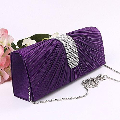 Semplici Donne Borsette Da Sera Strass Pochette Borsa Multicolore Purple