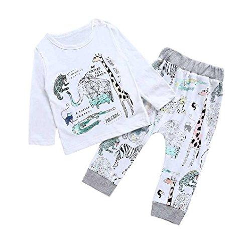 SMARTLADY Bebé Niños Camisetas de manga larga y Pantalones del animales de Dibujos Animados del Estilo del Modelo para Niña Ropa (4 años, Blanco)