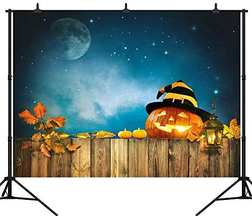GzHQ PGT275A Fotohintergrund, 210 x 150 cm, Kürbis-Laterne, Holz, zur Nacht, Halloween-Hintergrund, nahtlos, Vinyl, Fotohintergrund
