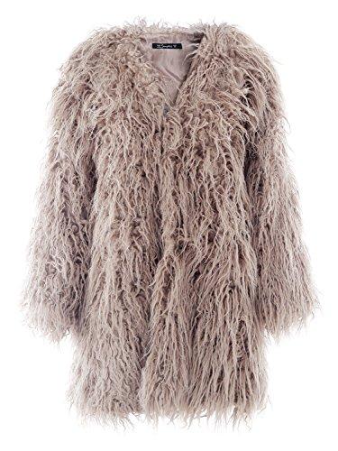 Simplee Apparel Damen Faux Fur Jacek Winter Elegant Lang Warm Kunstfell Jacke Mantel Coat Khaki