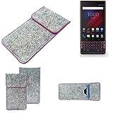 K-S-Trade® Filz Schutz Hülle Für -BlackBerry Key 2 LE Dual-SIM- Schutzhülle Filztasche Pouch Tasche Case Sleeve Handyhülle Filzhülle Hellgrau Pinker Rand