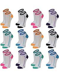 12 Paar modische Sneaker Socken Damen, Herren, Teenager schwarz, weiß, farbig, Größe:35-38, Farbe:12 Paar / Damen / No. 2037N
