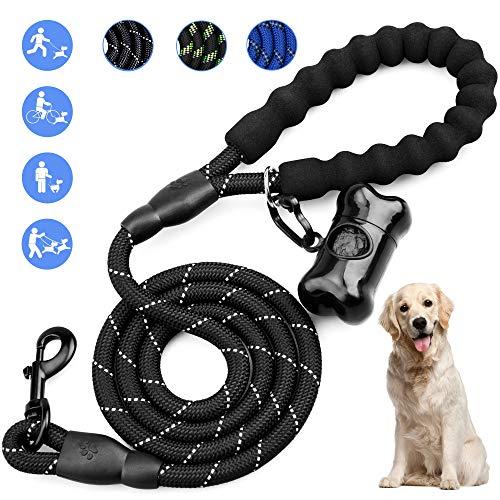 Omew Hundeline, 1,5m Starke Trainingsleine Hundeleine 100% Nylon mit Gepolsterten Griff für Kleine, mittlere und große Hunde -